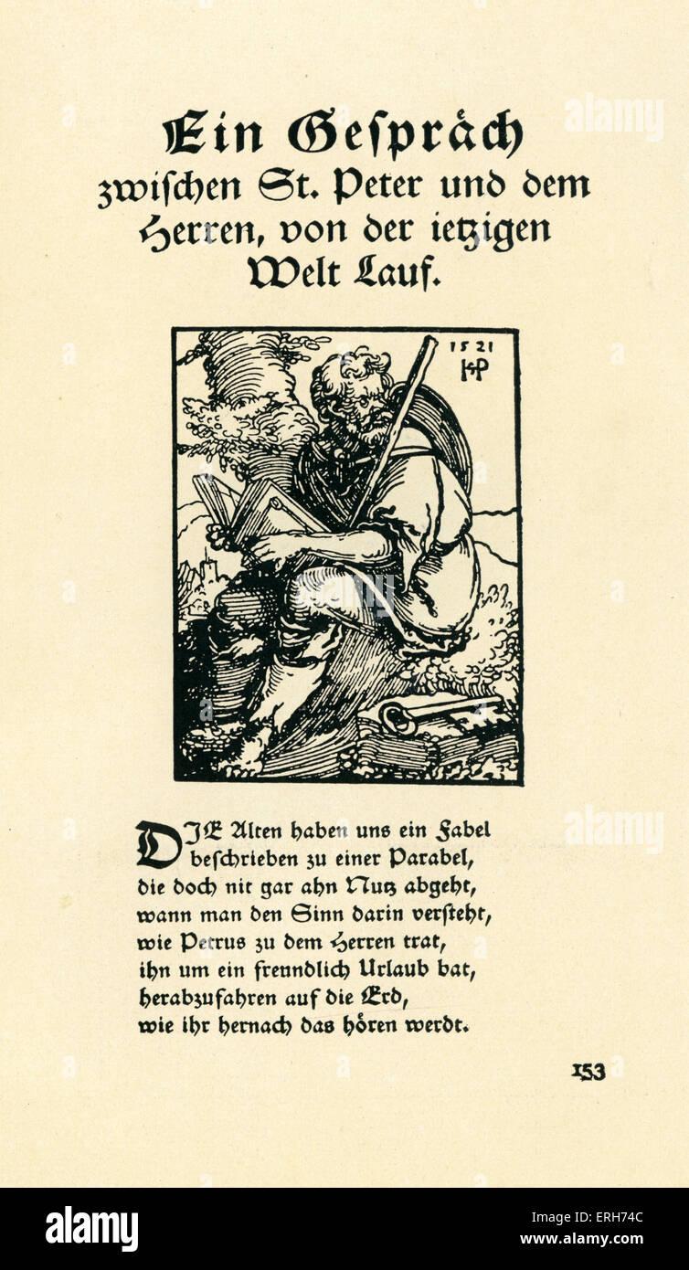 Ein Gesprach zwischen St Peter und dem herren, von der ietzigen Welt Lauf. / A conversation between St Peter and - Stock Image