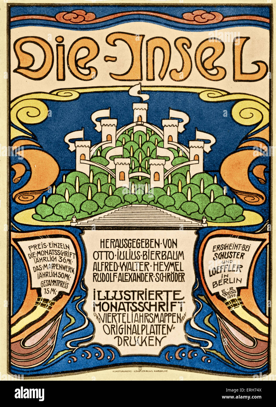 Die Insel ( The Island)  -  German literary and art magazine   published in Munich from 1899  by Otto Julius Bierbaum, - Stock Image