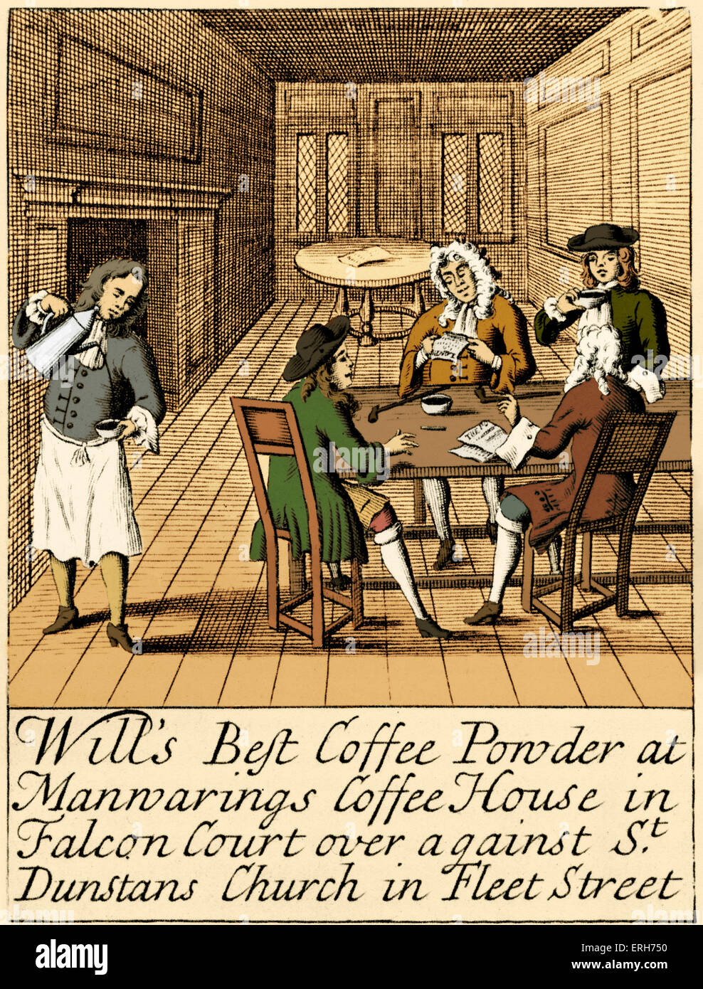 Advertisement for London Coffee House - c. 1700. Men wearing wigs. Reads: 'Will's Best Coffee Powder at - Stock Image