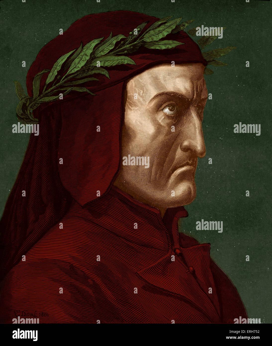Dante Alighieri, profile portrait with laurel wreath.  Italian poet, 1265-1321. Stock Photo