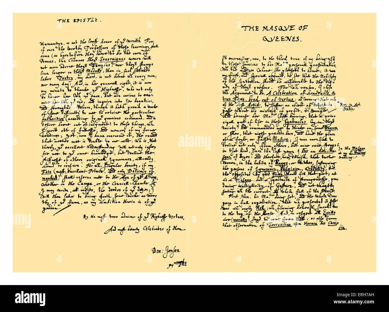 Autograph: Text of 'The Masque of Queenes, Celebrated from the House of Fame by the most absolute in all state - Stock Image