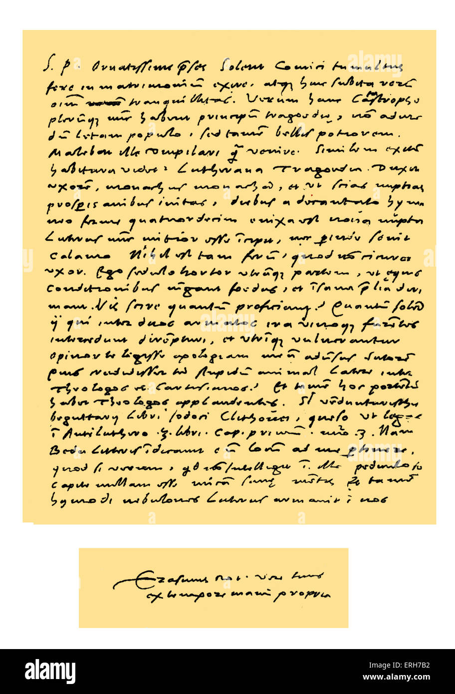 Autograph: Letter in Latin from Desiderius Erasmus to Dr Nicholas Everaerts (president of Holland), concerning the - Stock Image