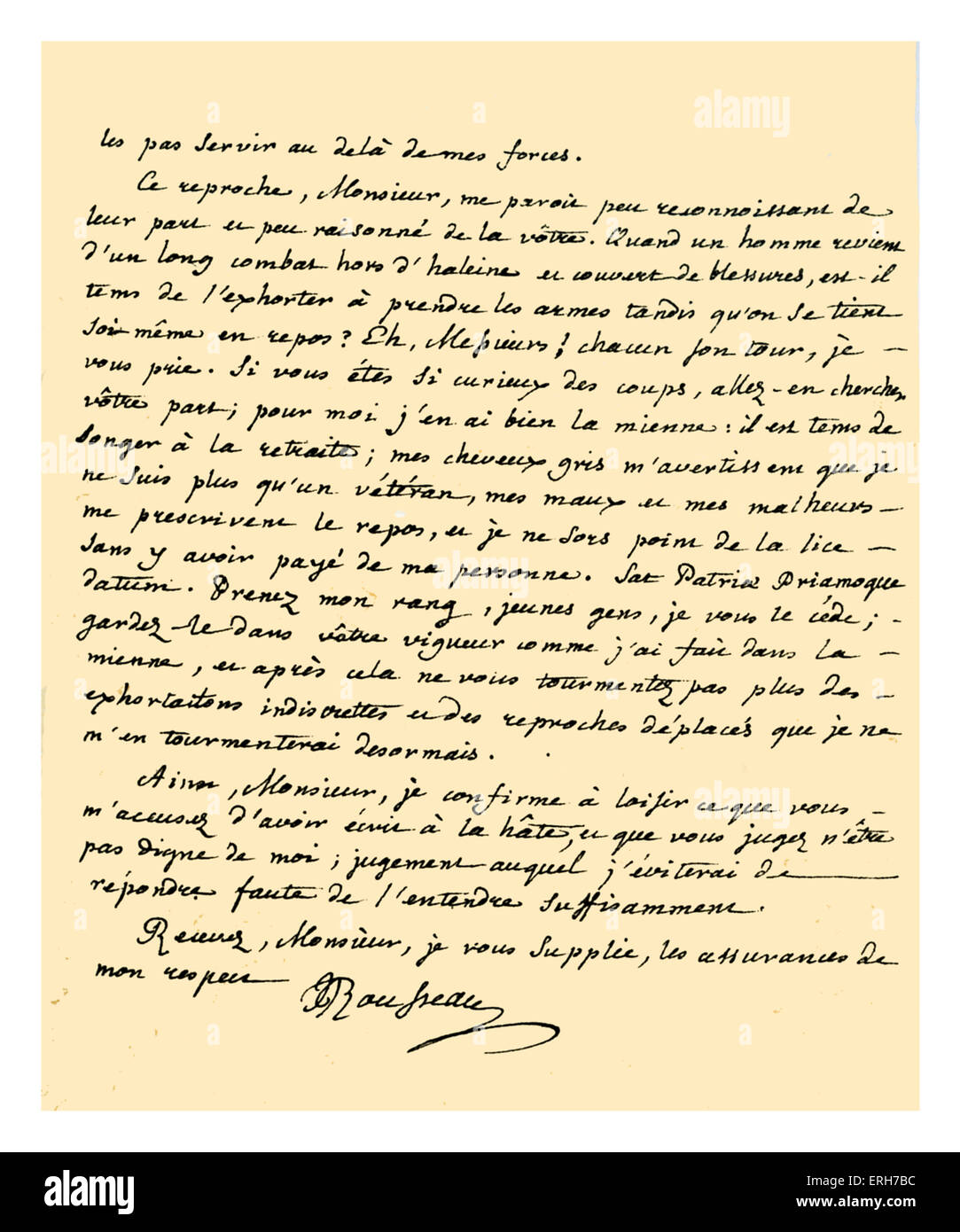 Autograph: Letter from Jean-Jacques Rousseau without an addressee, stating his reasons for not writing further in - Stock Image