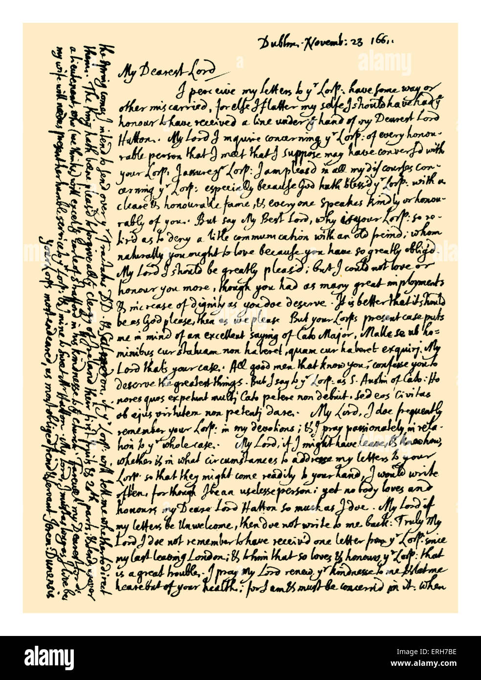 Autograph: Letter, written by Jeremy Taylor after he had been made Bishop of Down and Connor, to Christopher, Lord - Stock Image