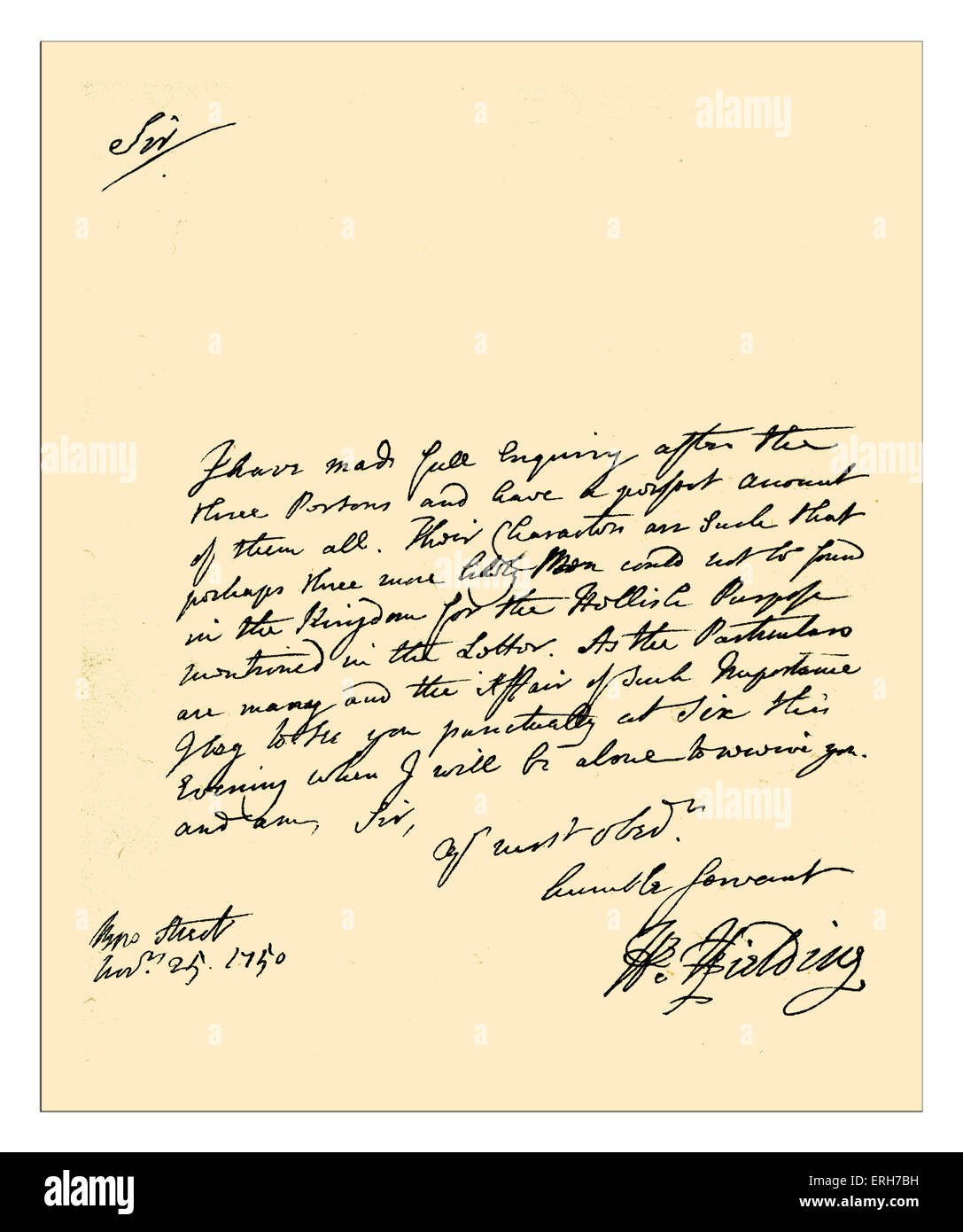 Autograph: Letter written by Henry Fielding in his capacity of police-magistrate, between the dates of the publication - Stock Image