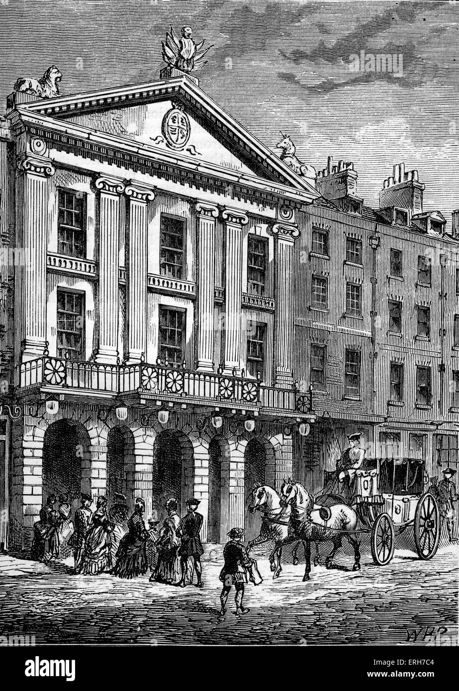 Front view of the Drury Lane Theatre in the 18th century. (Originally a cockpit before conversion to a theatre during - Stock Image