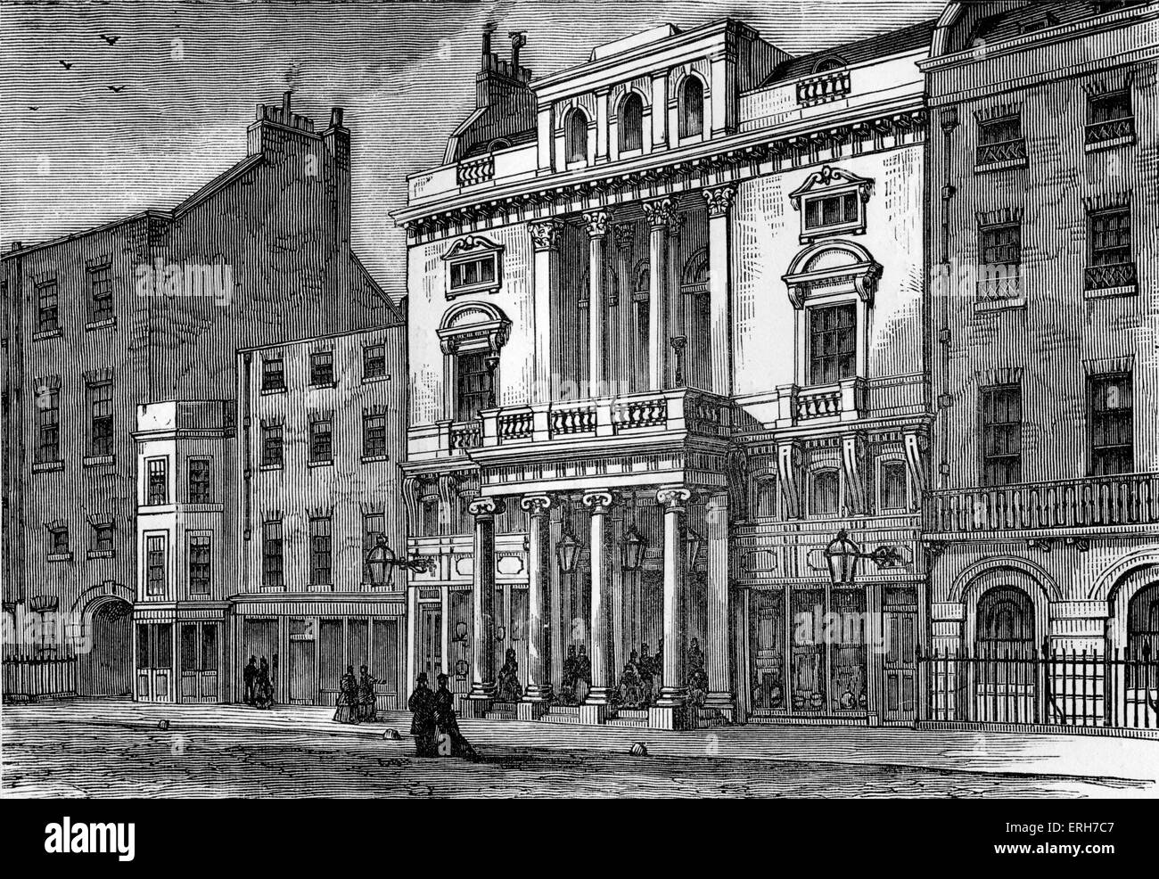 Exterior view of St James's Theatre, King Street, London, with audience entering the building. Designed by Samuel - Stock Image
