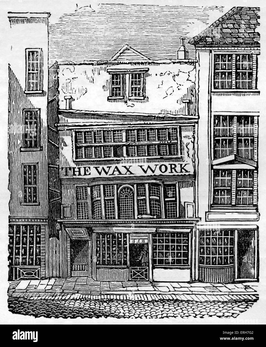 Front exterior of Mrs Salmon's Waxwork Exhibition, Fleet Street, London, 1795-1816. Contained 140 life-size figures Stock Photo