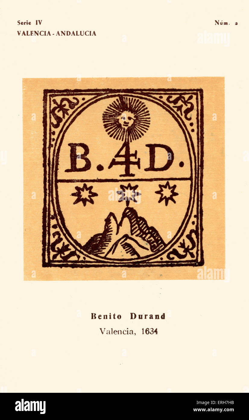 Bookseller 's mark: Benito Durand, Valencia, 1634. Intials B and D, three stars, mountain and sun. No.2 in series - Stock Image