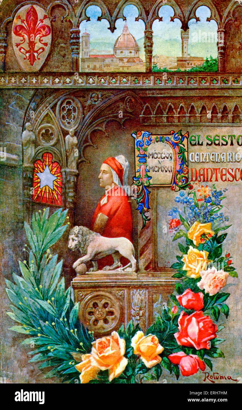 Dante 's Sixth Centenary (El Sesto Centenario Dantesco), 1921. Illustration by Rotuma. Plaque shows dates MCCCXXI - Stock Image