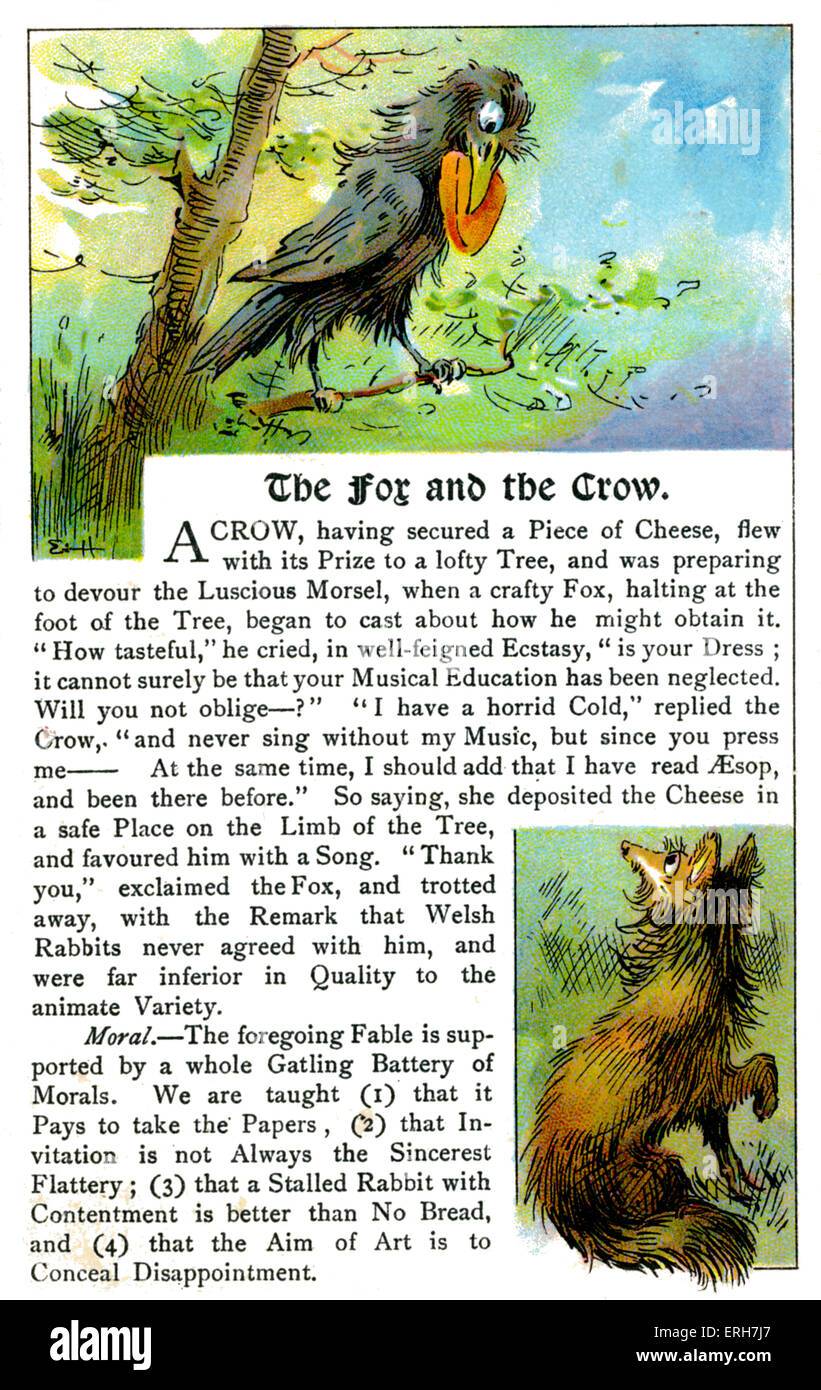 The Fox and the Crow - fable originally by Aesop.  Aesop (Esop), Greek writer, c. 620-564 BCE. - Stock Image