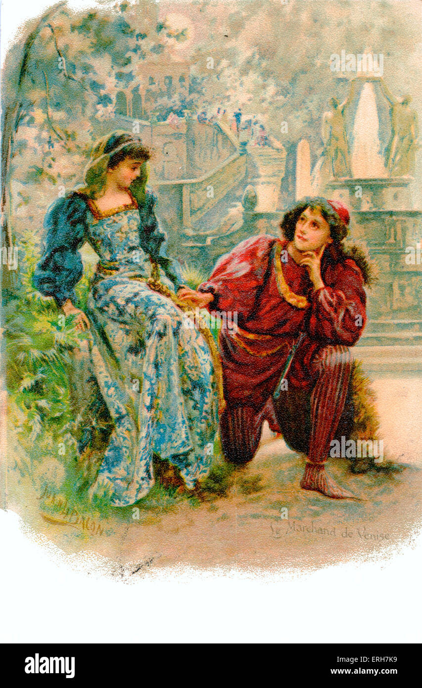 William Shakespeare - The Merchant of Venice. Lorenzo and Jessica. English Elizabethan playwright and poet 26 April - Stock Image