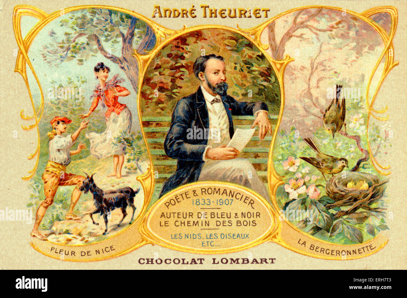 André Theuriet - portrait on Chocolat Lomart advertising card. French poet and novelist, 1833-1907. With images - Stock Image