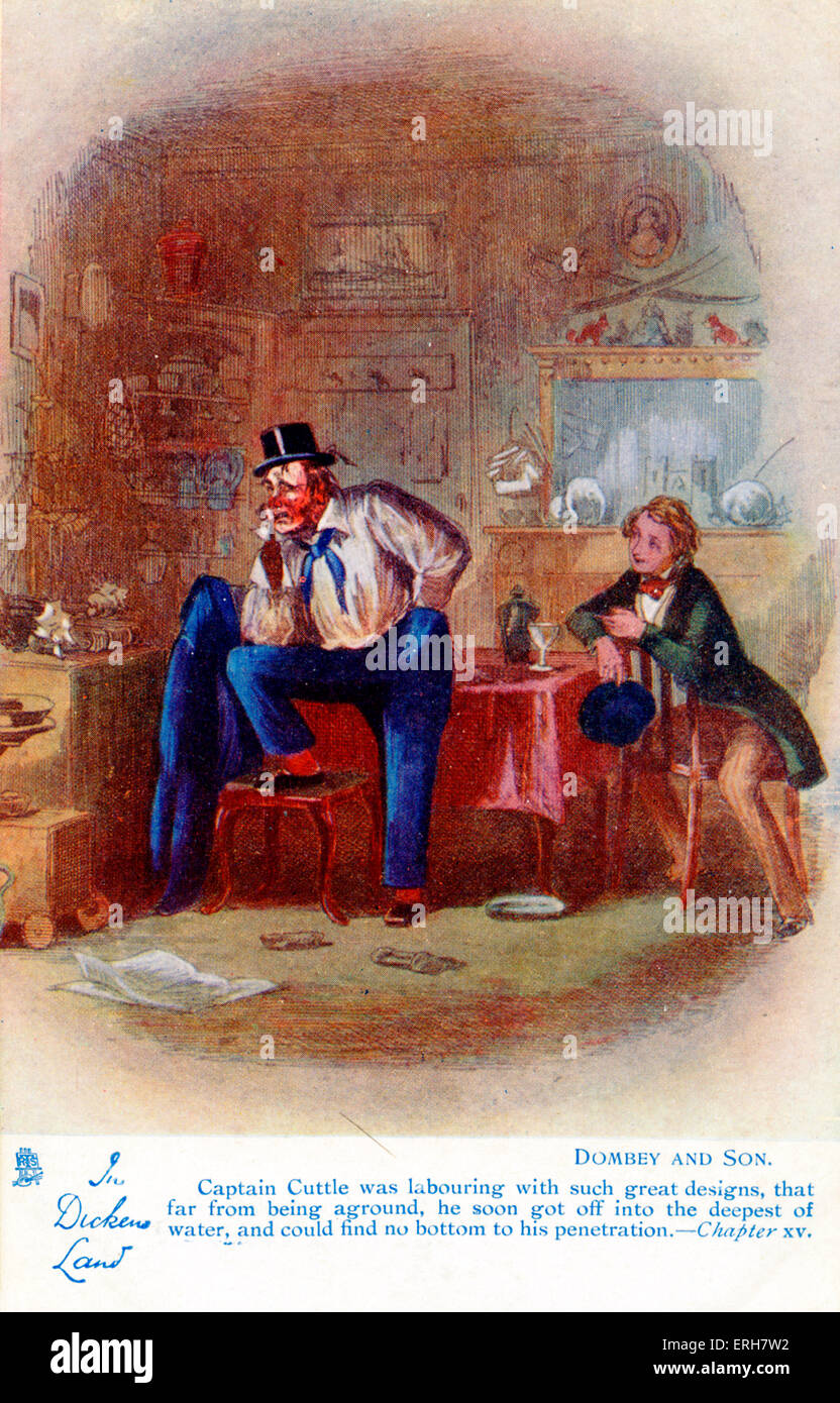 Dombey and Son by Charles Dickens. Chapter 15: 'Captain Cuttle was labouring with such great designs that far - Stock Image
