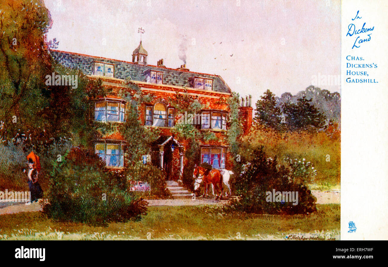 Charles Dickens house at Gadshill. English novelist  7 February 1812 – 9 June 1870. (In Dickens Land Raphael Tuck Stock Photo