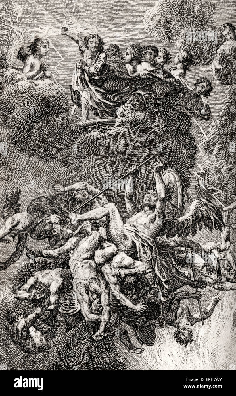 John MILTON - PARADISE LOST - Book 6 of the epic poem - engraving. Caption reads: 'Raphael continues to relate - Stock Image