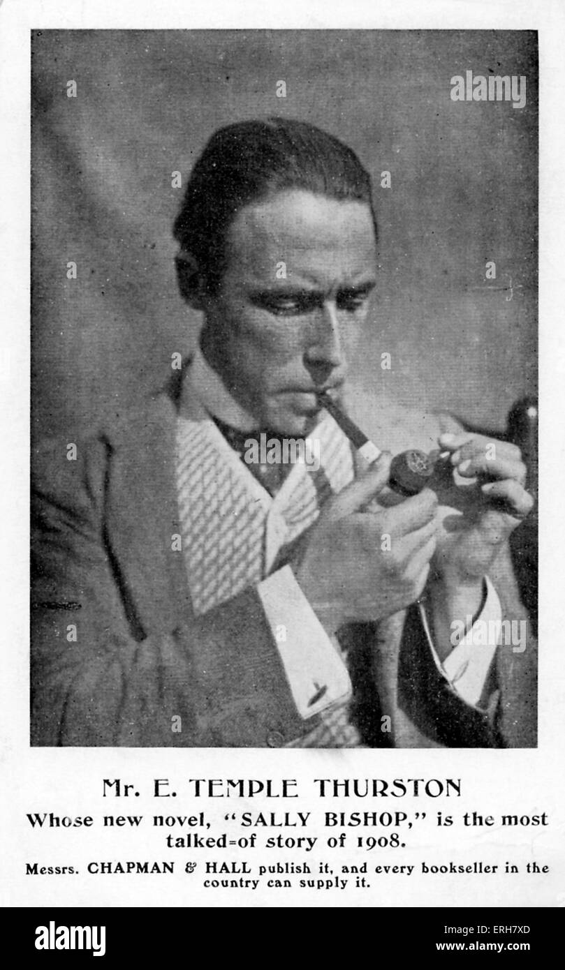 Ernest Temple Thurston - advert for novel 'Sally Bishop', 1908. Caption reads: 'Mr. E. Temple Thurston/ Whose new Stock Photo