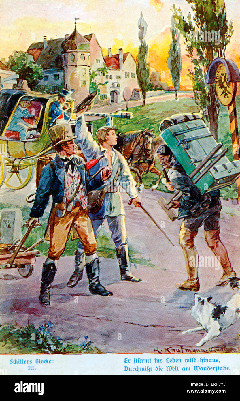 Illustration of Schiller 's 'The Song of the Bell' (Das Lied von der Glocke) (III). Young man leaving - Stock Image