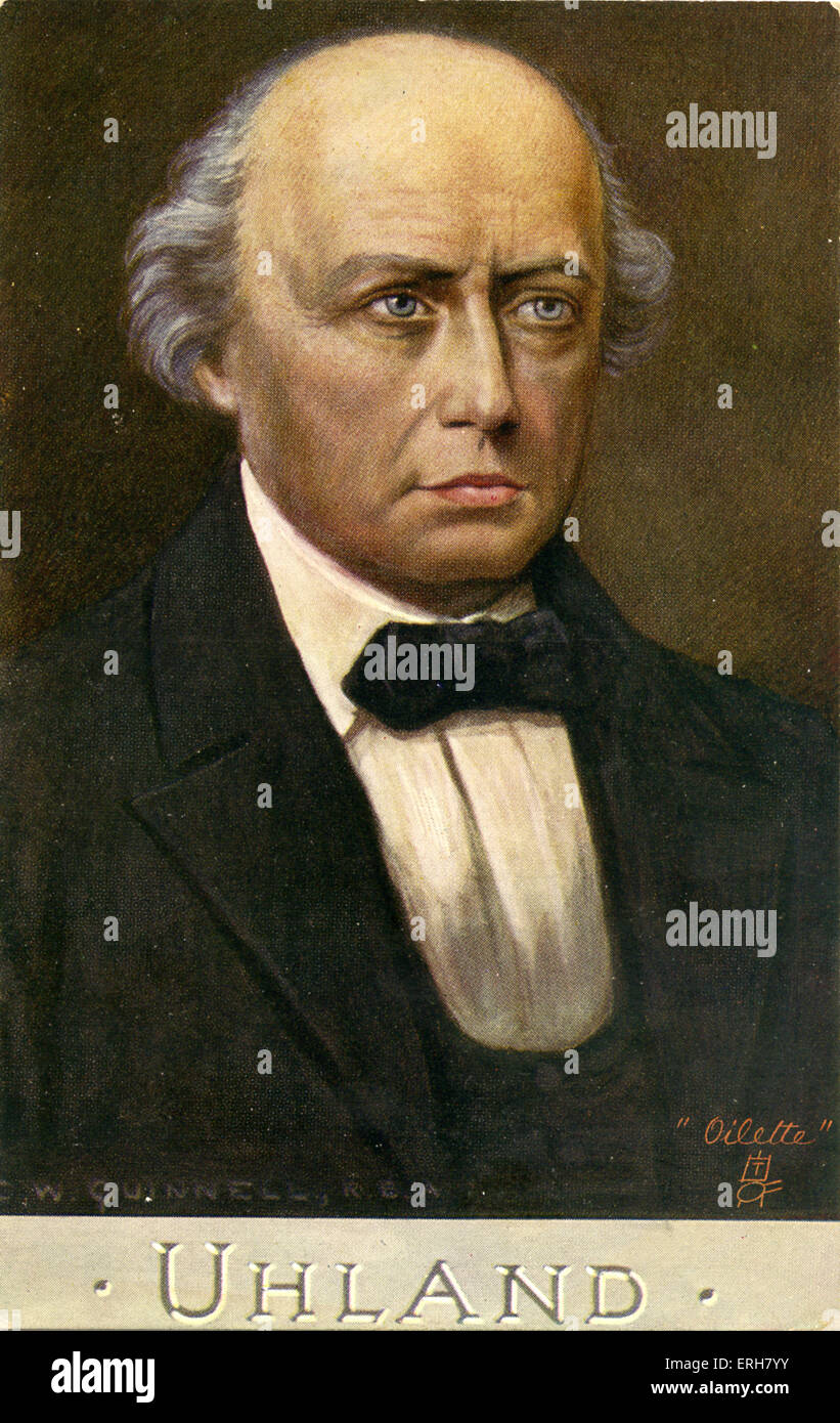 Ludwig Uhland - portrait by C. W. Quinnell. Uhland: German poet, 26 April 1787 – 13 November 1862. Part of the 'Schriftsteller' - Stock Image