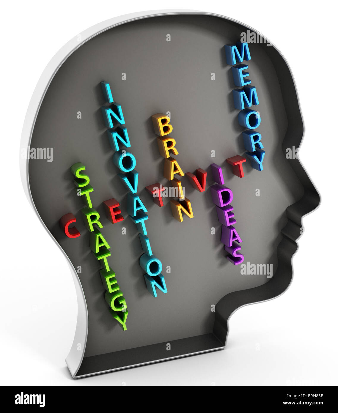 Creativity concept, words inside the head shape. - Stock Image