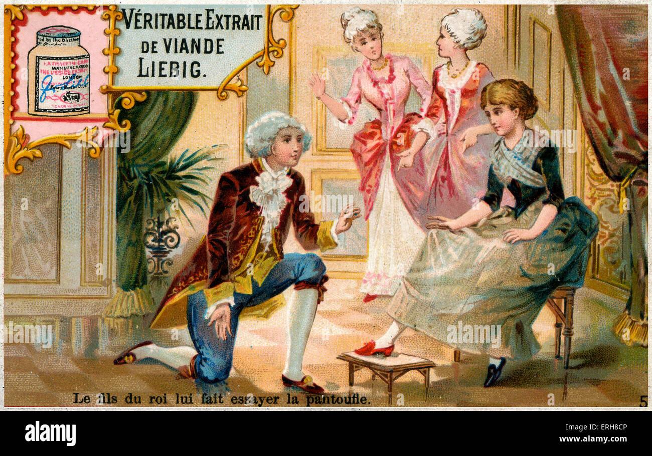 Cinderella tries on the slipper brought by the Prince. Caption reads: 'Le fils du roi lui fait essayer la pantoufle'. - Stock Image