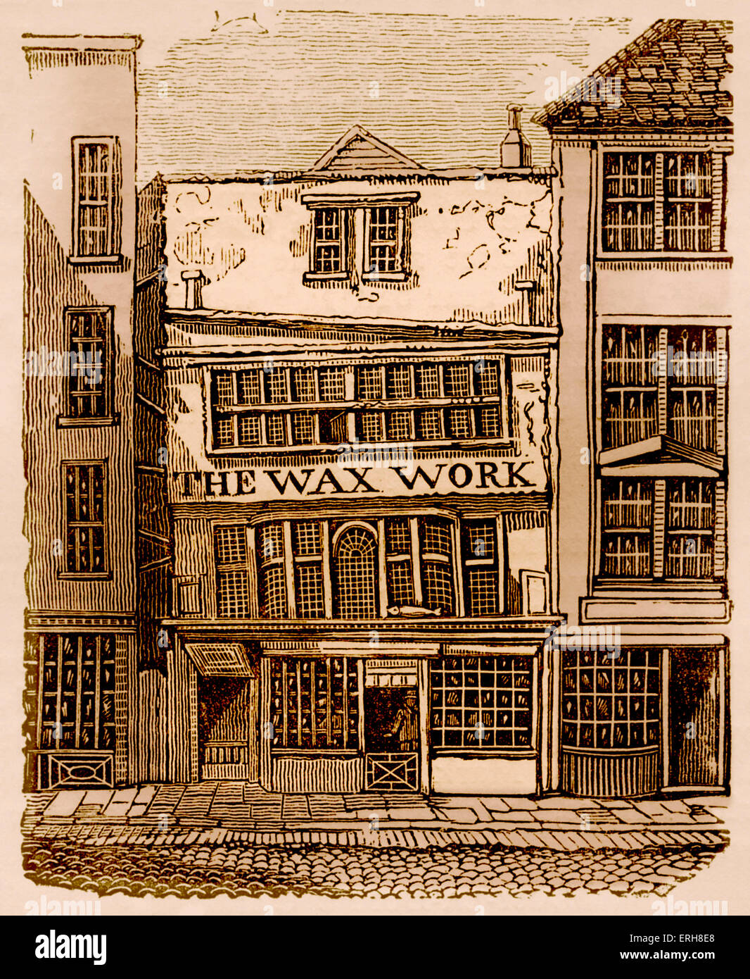 Front exterior of Mrs Salmon's Waxwork Exhibition, Fleet Street, London, 1795-1816. Contained 140 life-size - Stock Image