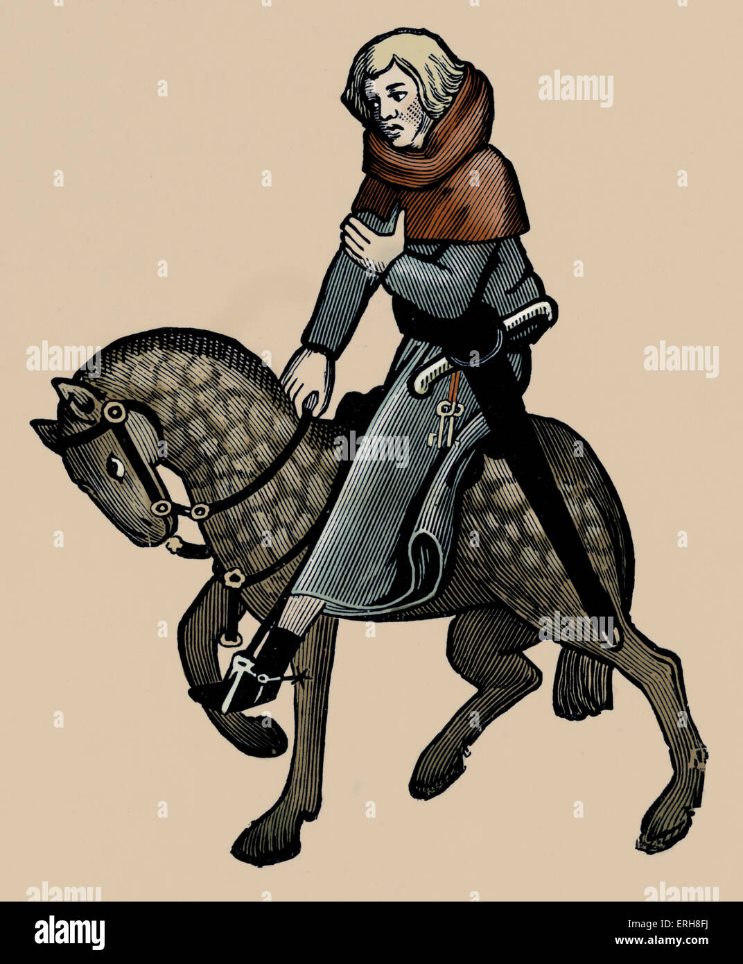 Geoffrey Chaucer ' s Canterbury Tales - The Reeve on horseback. English poet, c. 1343-1400. Ellesemere manuscript - Stock Image