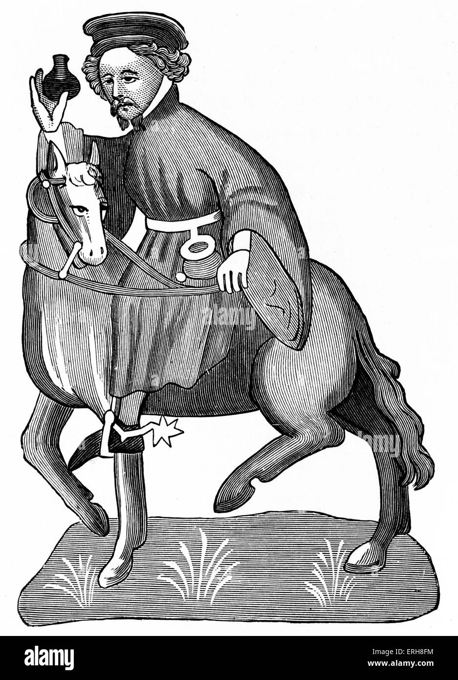 Geoffrey Chaucer ' s Canterbury Tales - The Manciple on horseback.  English poet, c. 1343-1400. Ellesemere manuscript - Stock Image