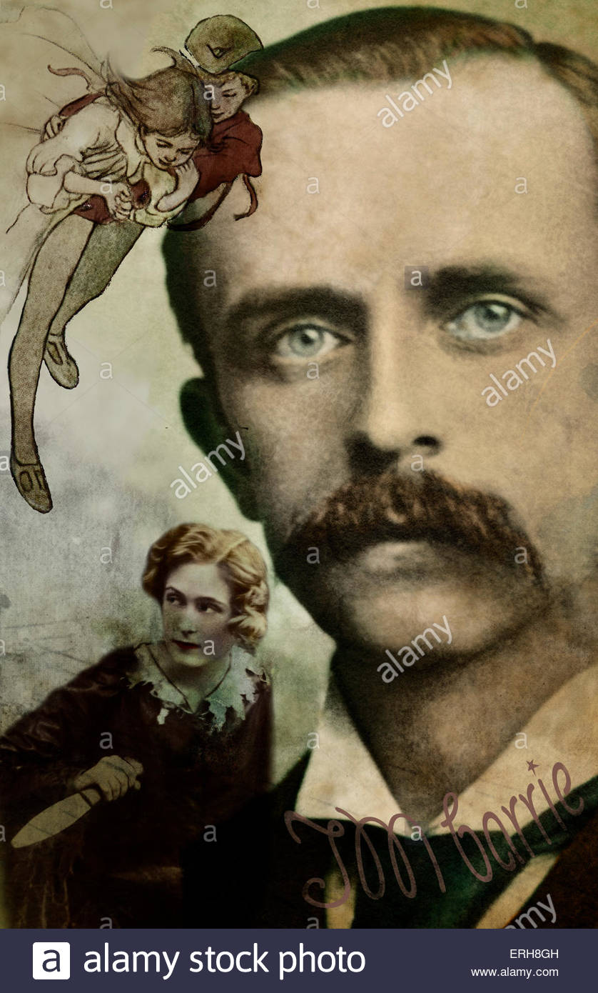 Sir James M Barrie. Collage and graphic compilation.  Scottish playwright, 1860-1937. - Stock Image