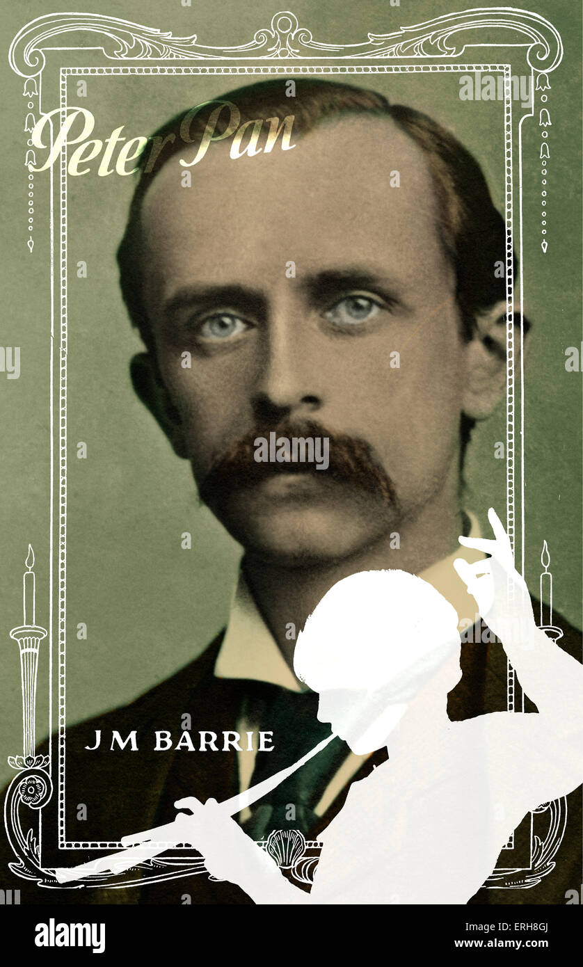 Sir James M Barrie . Collage and graphic compilation.  Scottish  playwright, 1860-1937. - Stock Image