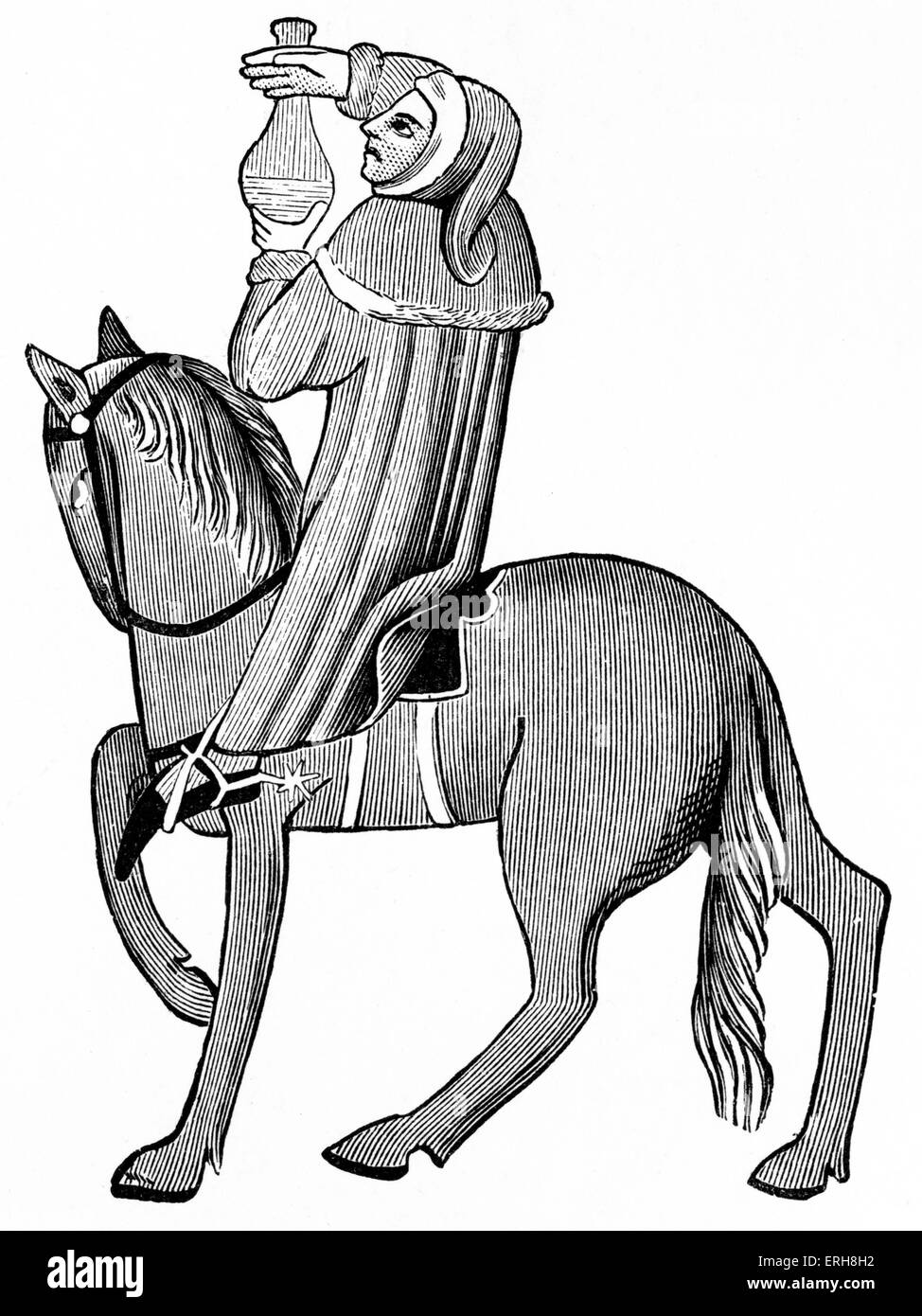 Geoffrey Chaucer ' s Canterbury Tales - The Doctor of Physic on horseback.  English poet, c. 1343-1400. Ellesmere - Stock Image