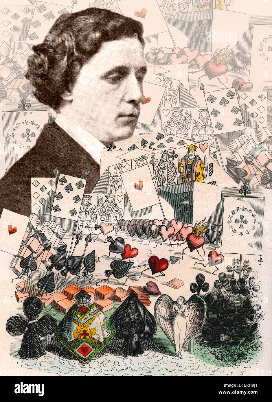 Lewis Carroll - collage of Alice in Wonderland illustrations with portrait of 28  March 1863. LC: Born Charles Lutwidge Stock Photo