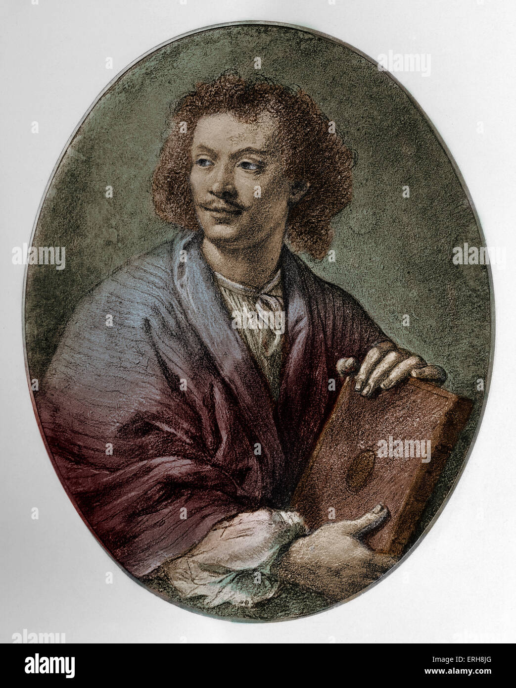 Molière (real name Jan-Baptiste Poquelin) - portrait.  French dramatist, comic playwright, and theatre director, - Stock Image