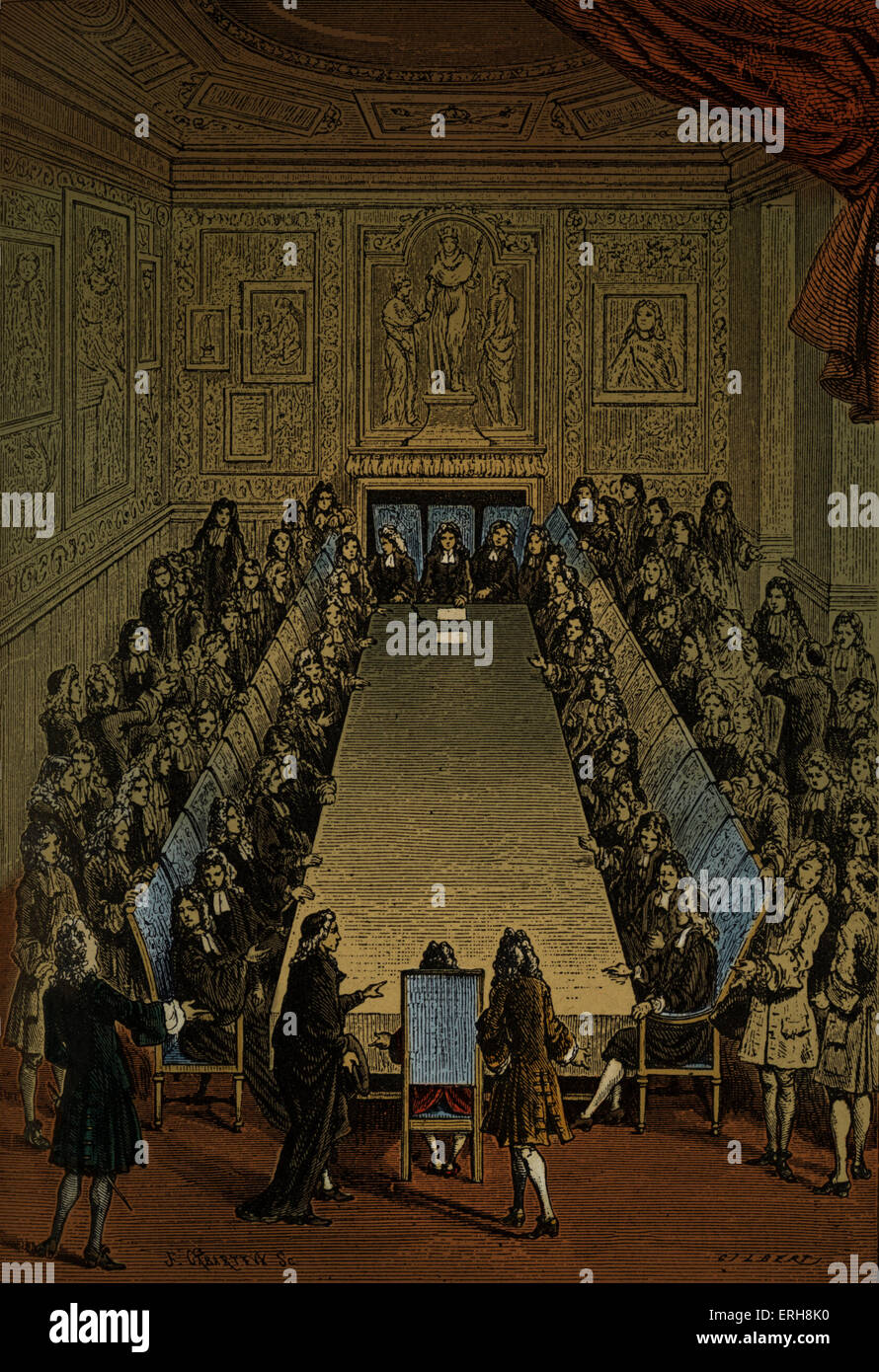 Meeting of French Academy / Académie Française - at the Louvre - 1714 - Stock Image