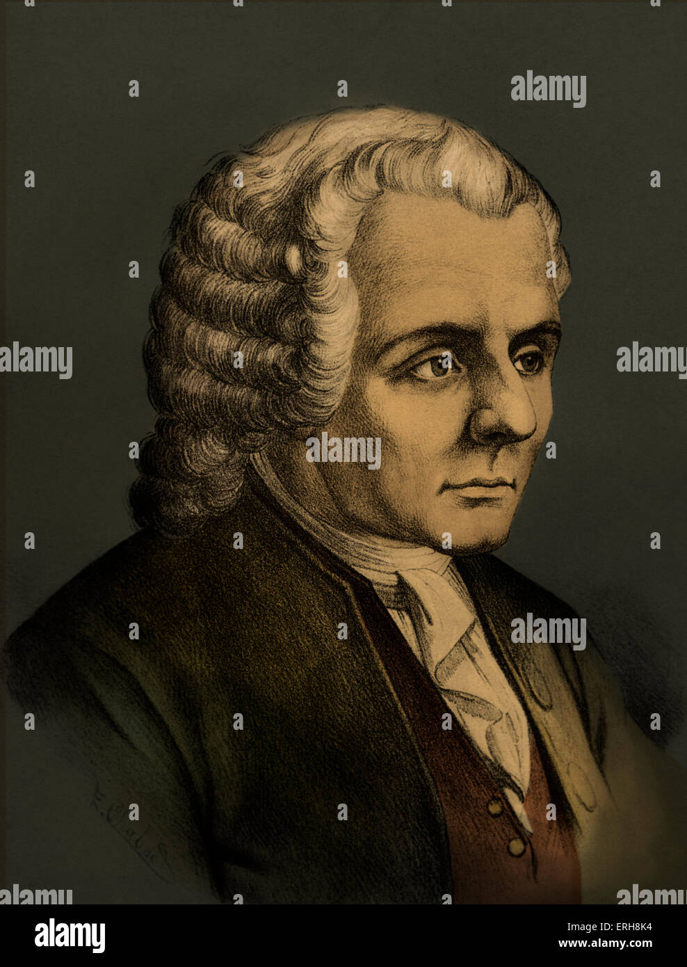 Jean-Jacques Rousseau -  Swiss born French philosopher of Enlightenment. His political ideas influenced the French - Stock Image