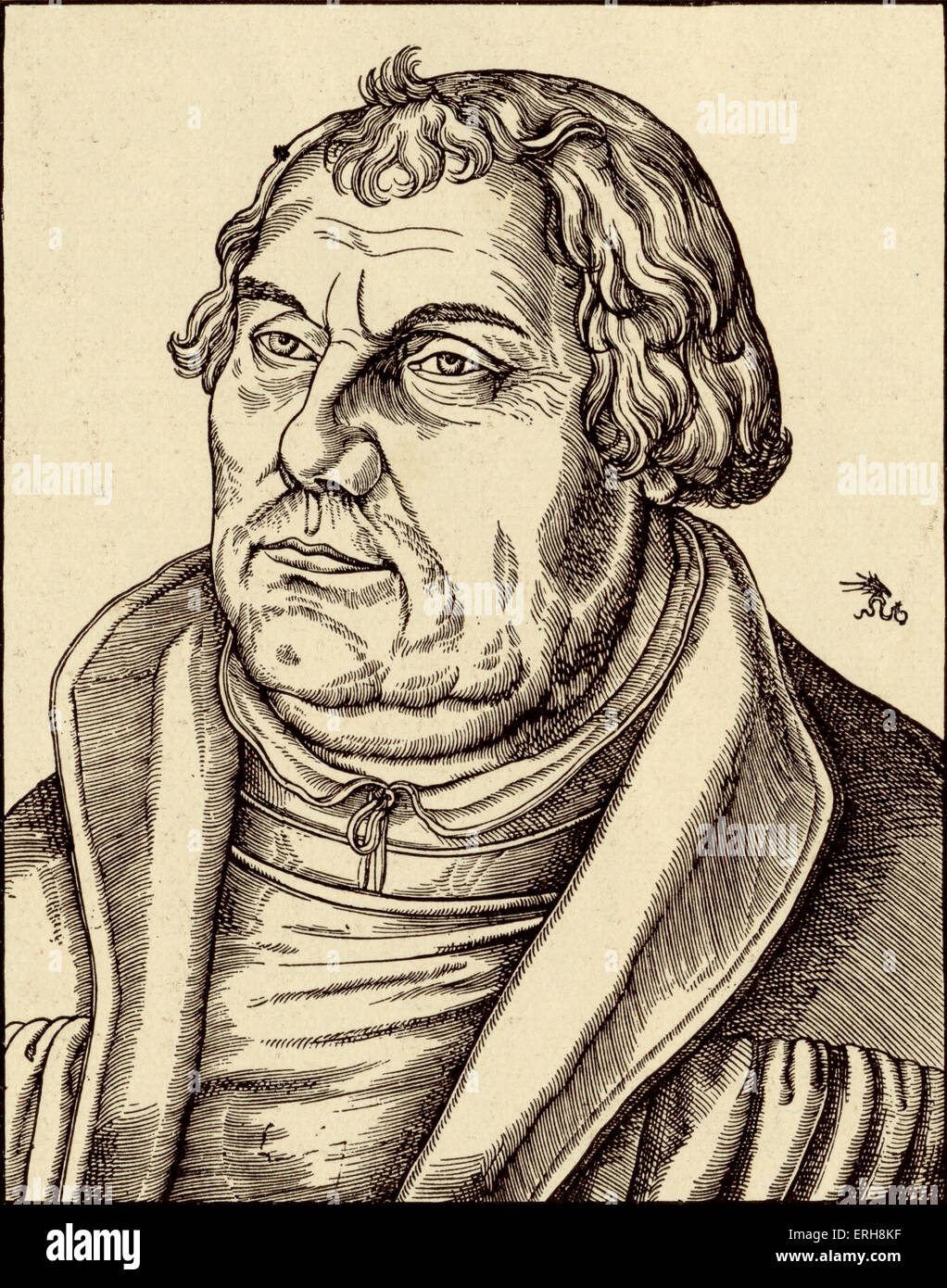 Martin Luther by Lucas Cranach. Church reformer. 1483-1525 - Stock Image