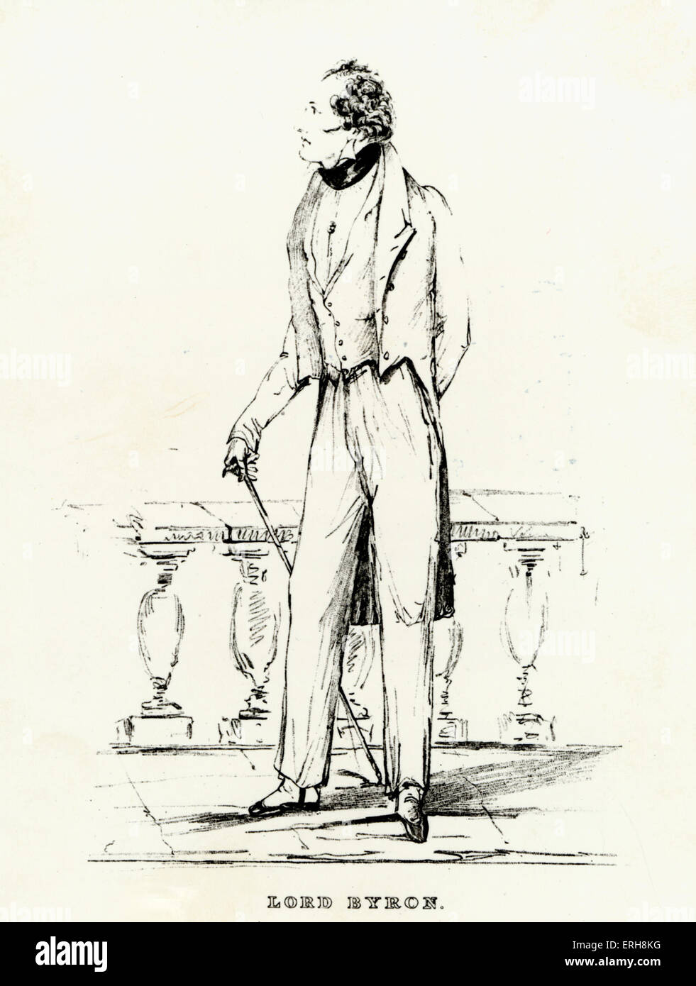 BYRON - in 1823 English Poet.  Wrote the Two Foscari in 1821 (VERDI based his opera I Due Foscari on this) from Stock Photo