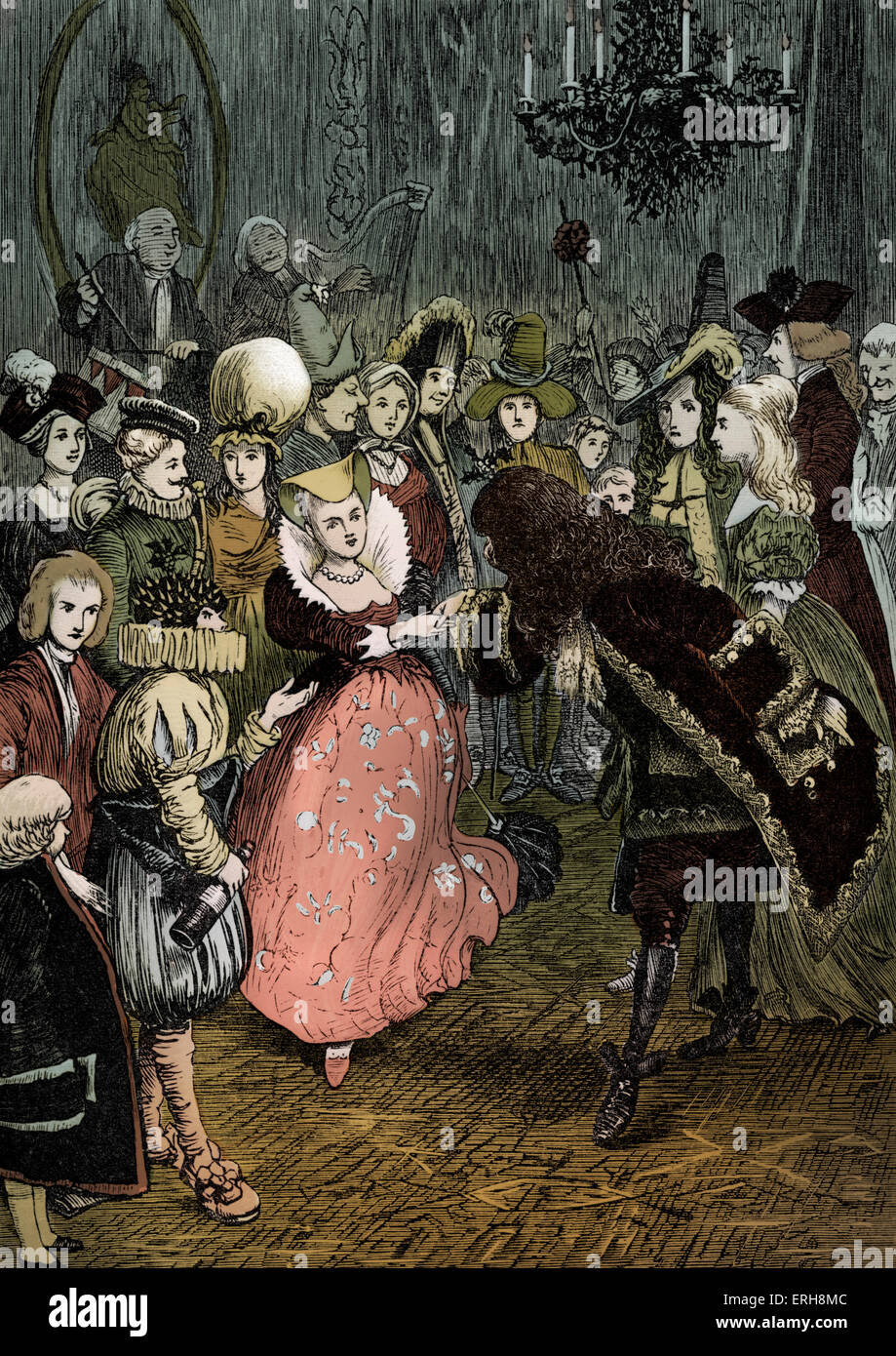 Old Christmas by Washington Irving:   Christmas Day Dance - fancy dress. Caption: 'The rest of the train had been Stock Photo