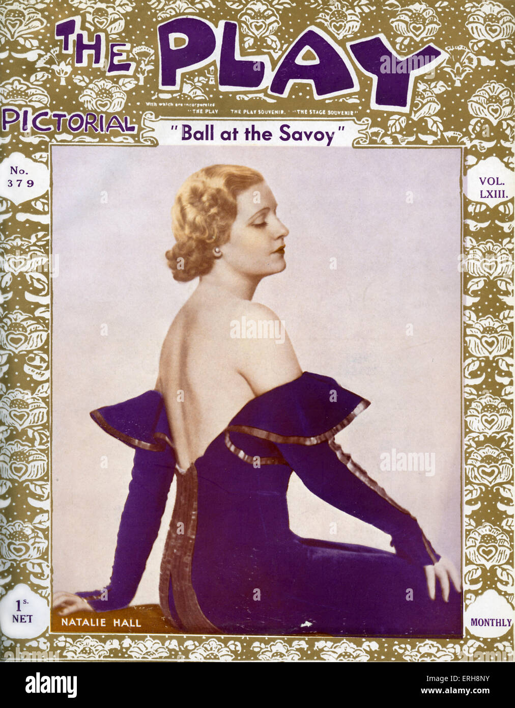 The Play Pictorial - front cover, No 397 (Volume LXIII),  October 1933. With Natalie Hall as Madeleine in 'Ball - Stock Image