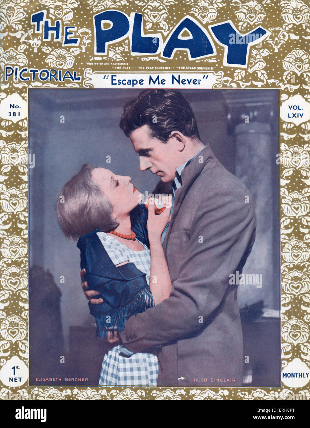 The Play Pictorial - front cover of No. 381 (volume LXIV), January 1934. With Elisabeth Berger as Gemma and Hugh - Stock Image