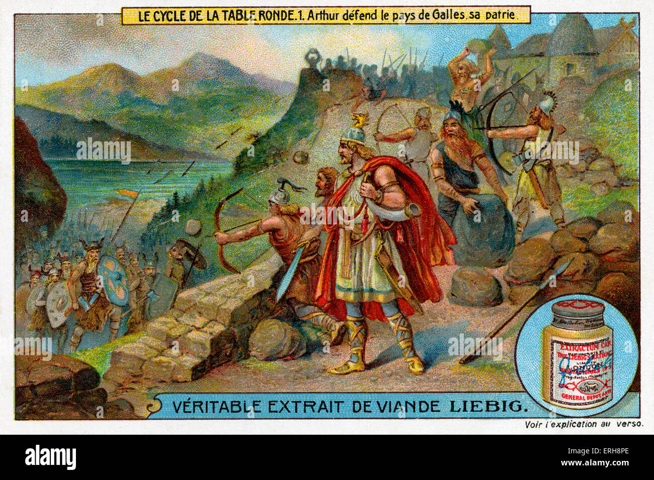 Knights of the Round Table: Arthur defending Wales, his homeland. (Liebig Collectible Cards. Series: 'Le Cycle - Stock Image