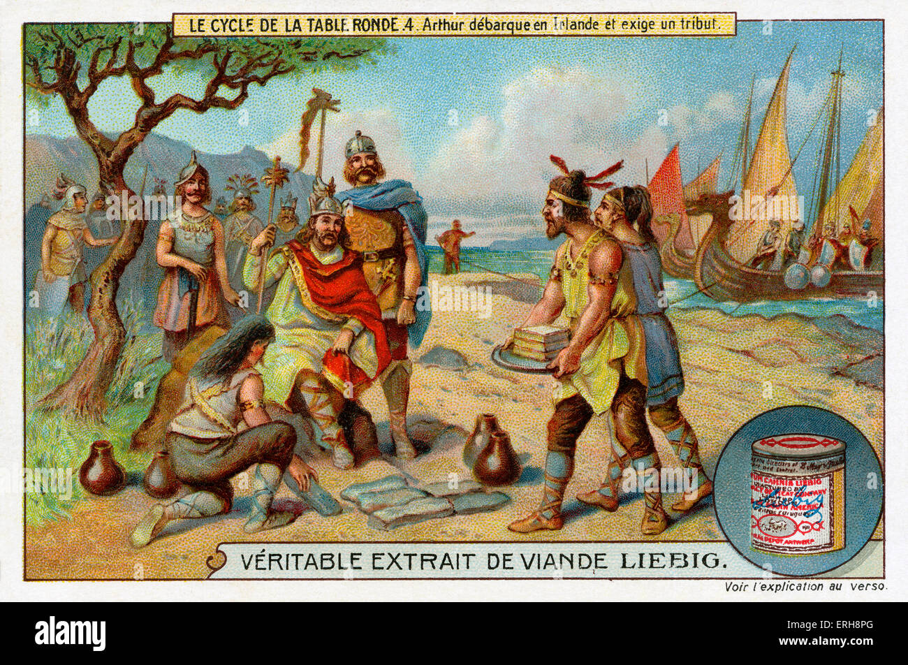 Knights of the Round Table: King Arthur arrives in Ireland and demands a tribute. (Liebig Collectible Cards. Series: - Stock Image