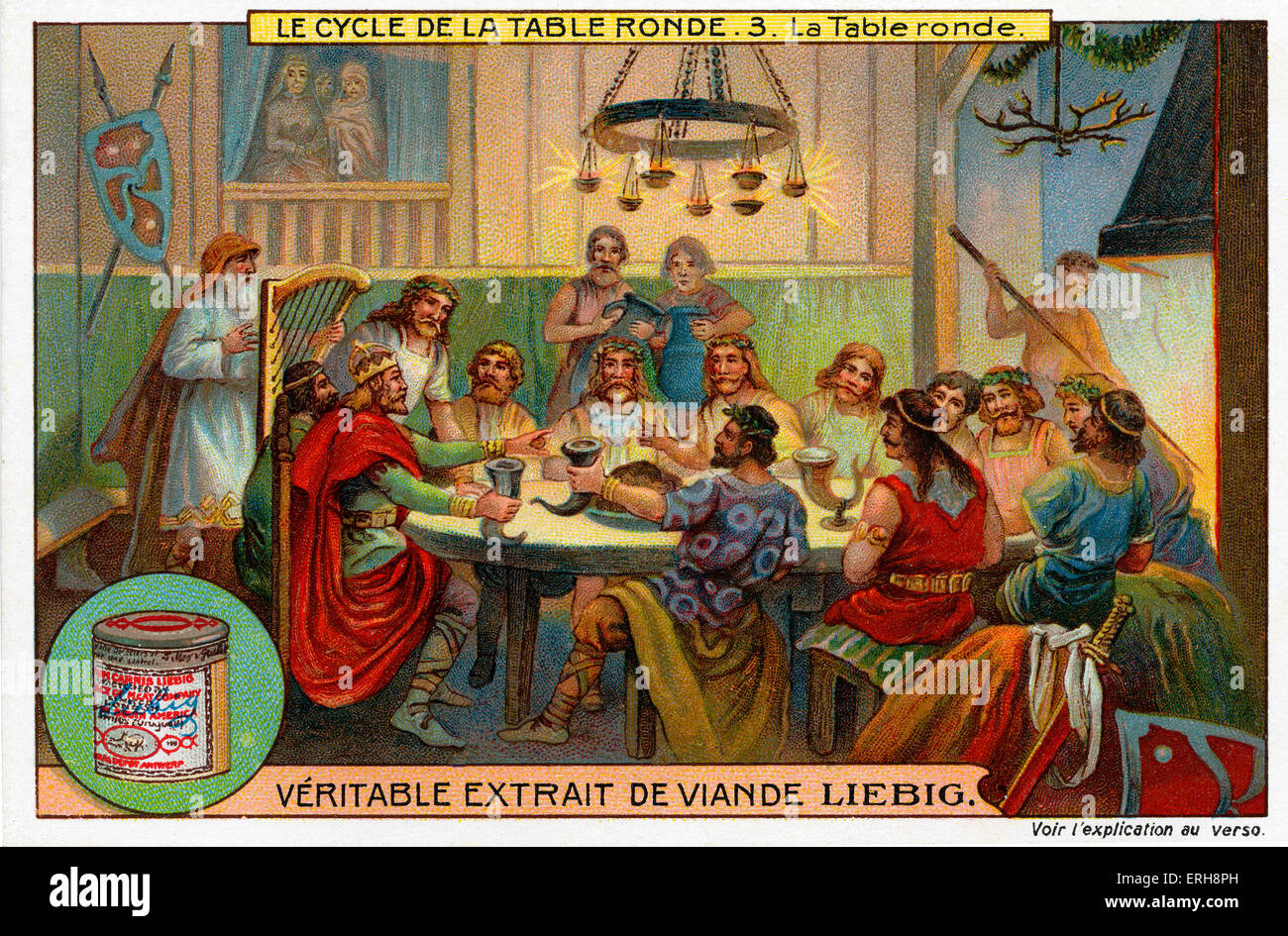 Knights of the Round Table.  (Liebig Collectible Cards. Series: 'Le Cycle de la table ronde/ The Round Table - Stock Image