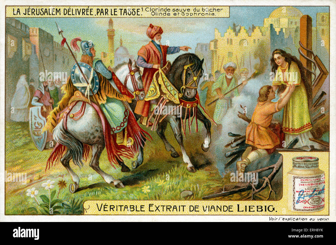 'Jerusalem Delivered' byTorquato Tasso ('La Gerusalemme liberata'). Illustration of 1910.   Clorinda - Stock Image