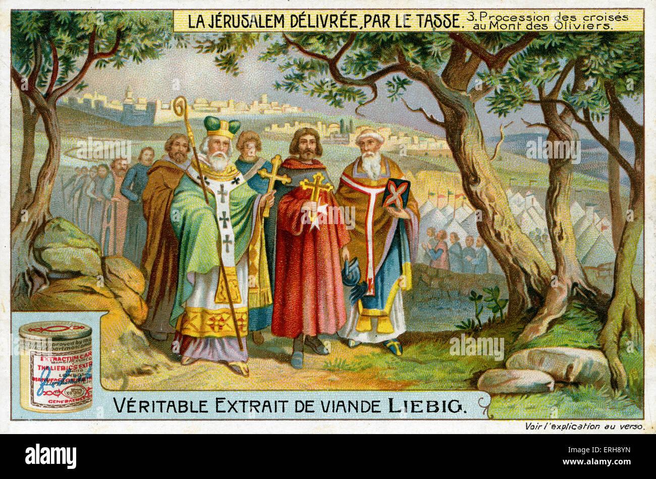 'Jerusalem Delivered' by Torquato Tasso ('La Gerusalemme liberata'). Illustration of 1910. Procession - Stock Image