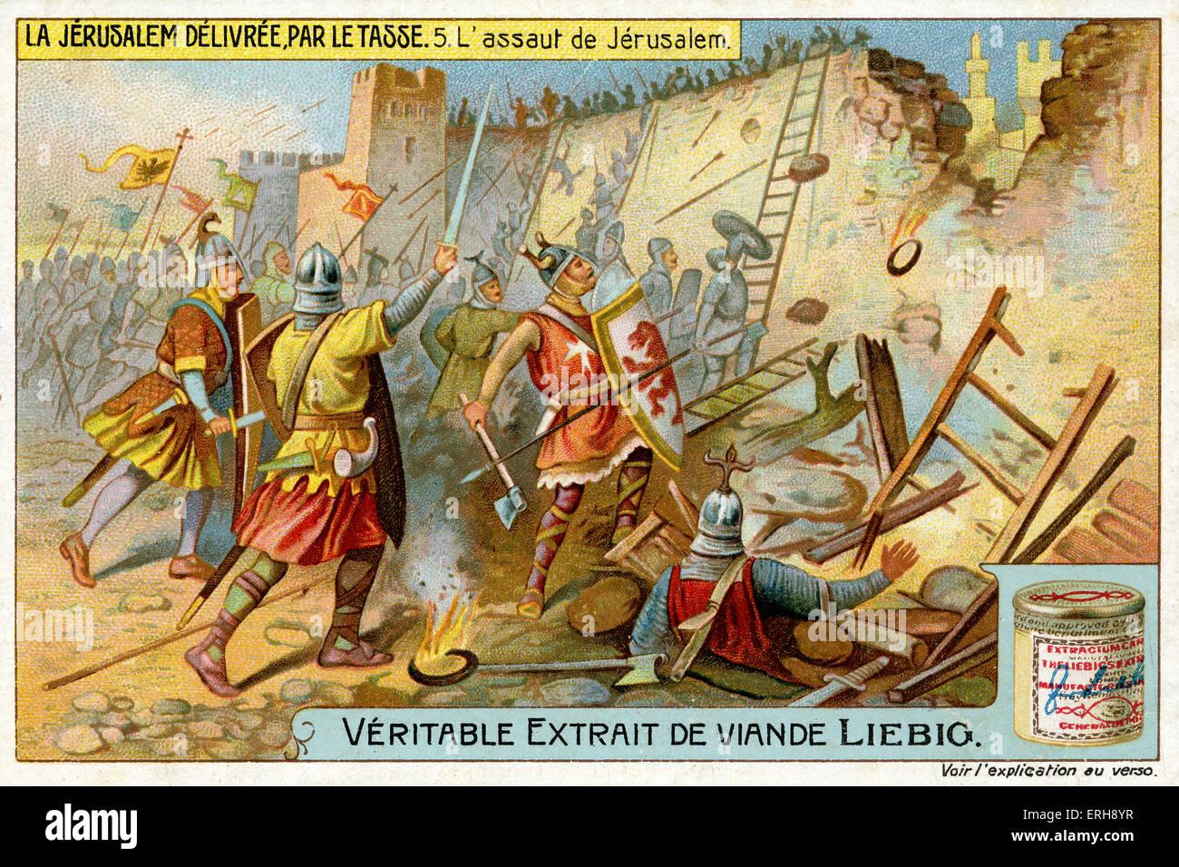 'Jerusalem Delivered' by Torquato Tasso ('La Gerusalemme liberata'). Illustration of 1910. The assault - Stock Image
