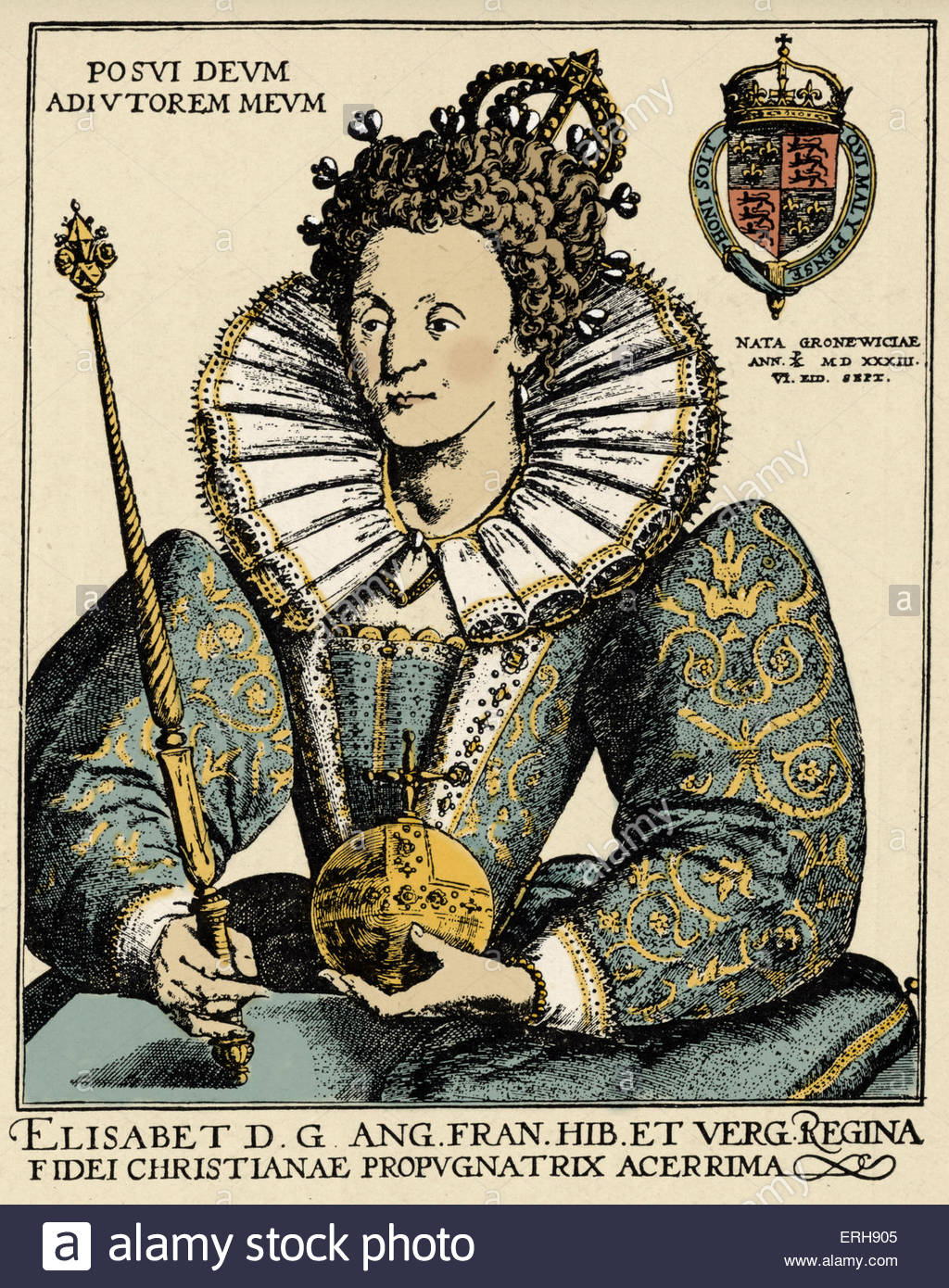 Queen Elizabeth I - portrait from an engraving by Crispin de Passe, 1592 - Queen of England and Ireland, 17 November - Stock Image