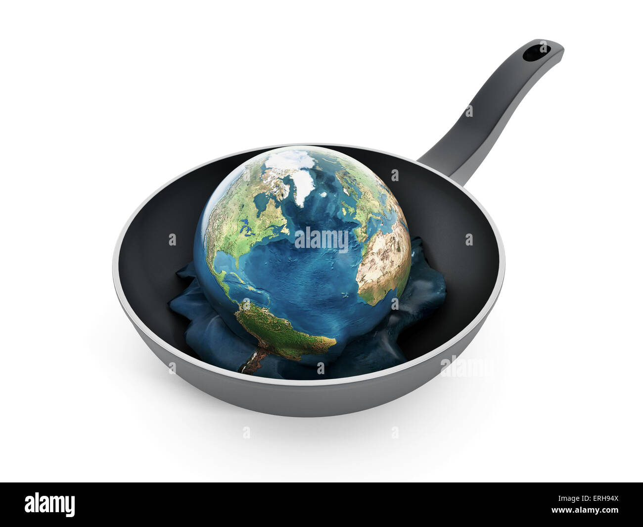 Global warming concept with globe melting inside the pan. - Stock Image