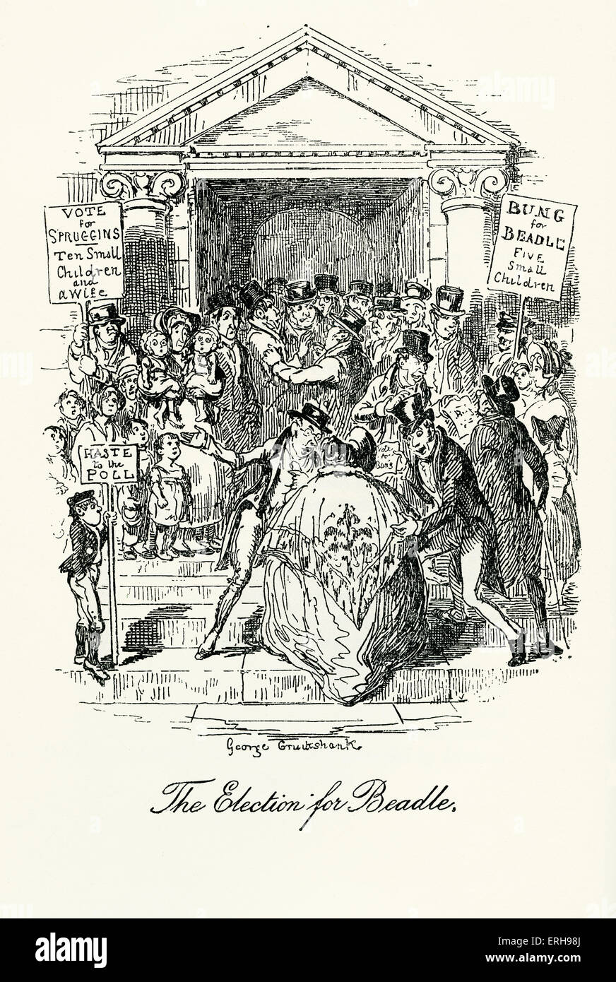 Sketches by Boz: Illustrative of Every- Day Life and Everyday People by Charles Dickens. Scene: 'The Election - Stock Image