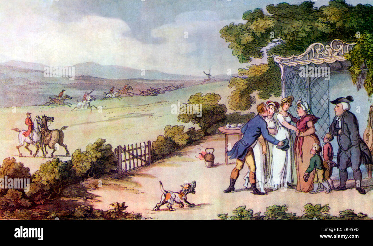 Vicar of Wakefield by Oliver Goldsmith. 'The Esquire's Intrusion' by Thomas Rowlandson, English artist: - Stock Image
